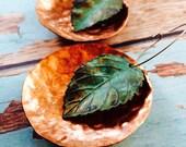 Beautiful Botanical Large Verdigris Patina Leaf & Copper Hammered Disc or Hoop Earrings
