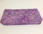 Purple Packed Paisley Checkbook Cover