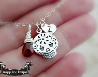 Sugar skull necklace, sterling silver, personalized heart charm, red Garnet gemstone, gothic, dia de los muertos,skull jewelry,punk, initia