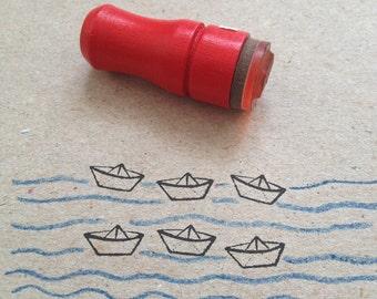 Mini Paper Boat Rubber Stamp