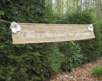 Happily Ever After, This Is Where, Burlap Banner, Rustic Wedding, Rustic Banner, Deluxe Version, Burlap Roses, Wedding Decor