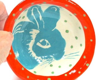 Handmade BUNNY BOWL Orange & Turquoise - Cute Baby GIFT - Holds Trinkets Jewelry Soap - Customize Colors