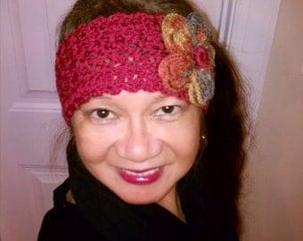Handmade Crochet Head wrap w/ Flower