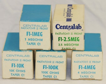Centralab Fastatch II Front Controls w/ Original Boxes - Lot of 5 - Vintage 1960's