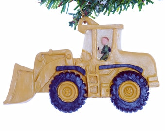 Construction equipment personalized Christmas ornament for big and little boys front loader ornament personalized with your diggers name