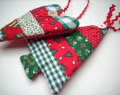 Christmas ornaments Fabric Tree and Heart Traditional colors