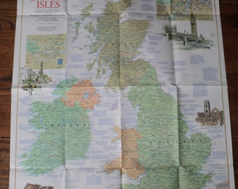 Vintage Map of The British Isles, A  National Geographic Society double sided illustration printed in April 1974 in Very Good Condition