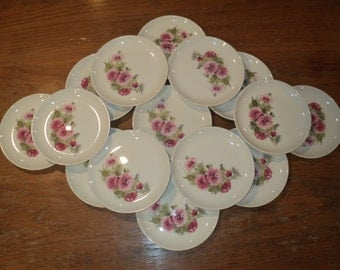 15 Retro Dessert, Salad or Tapas Plates, White  Ceramic Plates with elegant Pink Floral Bouquet Transfer Ware Print, All In Mint Condition