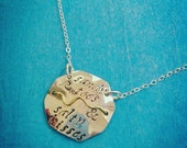 Sandy Toes and Salty Kisses Beach Badge Necklace Hand-stamped Sterling Silver