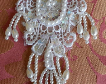 White Pearl Sequined Appliques