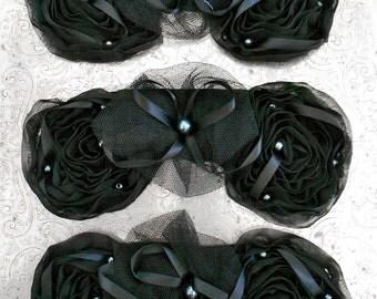 Black Ribbon Pearl Rosettes