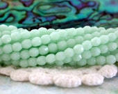 3mm Firepolished, Czech Glass Fire Polished Beads, Opaque Pale Jade Beads, Faceted Glass Beads, 3mm Firepolished Beads  CZ-262