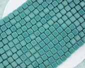1 Strand ~ 6mm Persian Turquoise Czech Glass Tile Beads, CzechMates, Two Hole Glass Beads, czech mate tile beads CZ-184