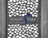 Wedding Guestbooks Alternative | Unique Wedding Keepsake Poster | Modern Keepsake | Bridal Shower Gift Heart Guestbook 151 Guests 20x30_01