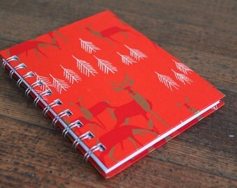 Handmade Spiral Bound - Journal/Notebook (Red Deer Graphic)