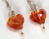Swarovski Fire Polished Crystal  Heart Earrings, Swarovski Peach Heart Drop Earrings, Gifts for MOM,Prom Heart Earrings,Crystal Earrings