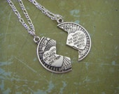 Silver Mizpah Coin Blessing Necklace Silver Chain Two Necklaces Couple Necklace Friend  The Lord Watch Between Me And Thee Friend Family