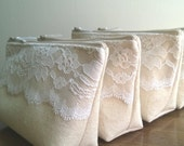 Ivory Lace Bridesmaid Clutch, Rustic Wedding, Linen and Lace Clutches Set of 10