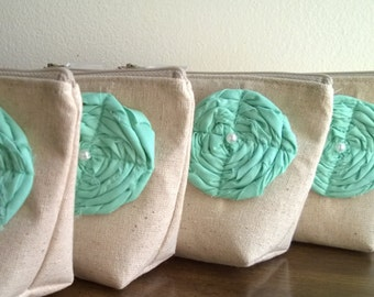 Set of 4 - Mint Bridesmaid Clutches, Rustic Linen Clutch Sets, Customizable Clutches, Mint Color Bridesmaid Gift Ideas, Wedding Clutches