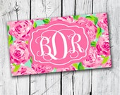 License Plate Rose Personalized Car License Plate Custom Pink Roses Monogrammed