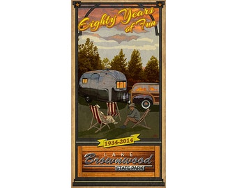 Brownwood State Park- Anniversary Poster, Texas Parks Camping Sites, Vintage look posters for western themed decor with Airstream Trailer