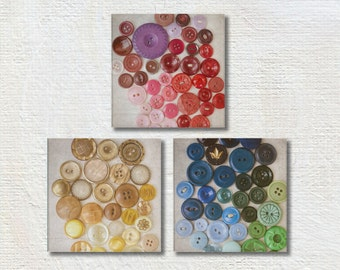 Colorful Photography, Set of Three Photos, Square Photograph Set, Button Picture, Craft Room Decor, Three Print Set