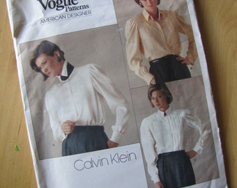 Uncut Vogue Sewing Pattern 1211 - Misses Blouse - Calvin Klein - Size 8