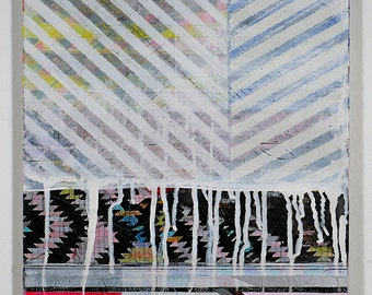 12x16 Geometric Abstract Painting, White, Grey & Pink on Panel NY1308