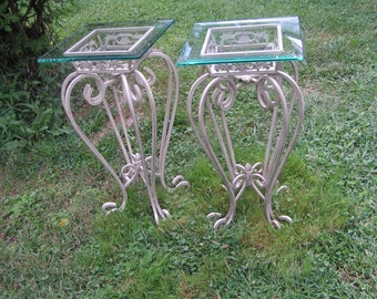 A Pair of Ornate Vintage Wrought Iron Patio Tables with green Tinted Glass Tops PICKUP ONLY Connecticut