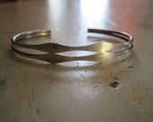 Parallel wave lines sterling silver bracelet