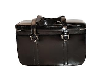 Authentic Gucci Train Case, Black Patent Leather, Vintage Travel Bag
