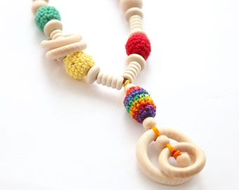 Organic cotton nursing necklace. Mummy and baby teething necklace. Girls crochet necklace.
