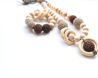 Set of 2. Shades of brown. Nursing rings necklace and teething ring toy.