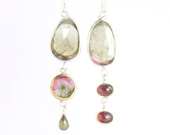 """Rose Cut Green Tourmaline """"Miss Matched"""" Earrings with Watermelon Cabs, Slice & Briolette"""
