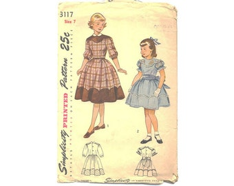 Vintage 1950s Button Back Dress, Party Dress For Girls Sewing Pattern, Simplicity Sewing Pattern 3117, Peter Pan Collar, Bust 25