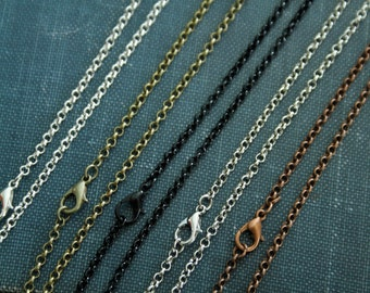24 inch Necklace Chain for Pendant Jewelry Making  Bronze, Antique Silver, Copper or Black (3mm wide) Loop Wholesale prices Free Ship in USA