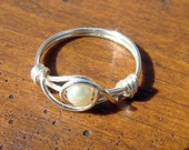 Petite White Glass Pearl Ring, Wire Wrapped, custom sized just for you