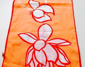 1970s Vintage VERA Neumann Floral Scarf with Orange, White and Red Colours