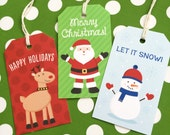 Reindeer, Santa, Snowman Holiday Tags Set - Christmas Gift Tags - Printed Set of 12