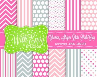 SALE  Pink and Grey Digital Paper - Pink and Gray Scrapbook Paper - Chevron Digital Paper - Polka Dot Paper - Commercial Use OK