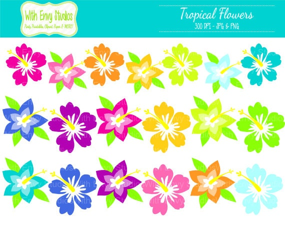 50% OFF Flower Digital Clipart - Hibiscus Clipart - Tropical Flower Clipart - Hawaii Clipart - Commercial Use