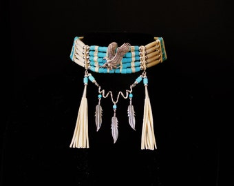 Eagles Nest Choker with Sterling Silver Eagle and Sky Blue Glass Tile Beads With Bone Hair Pipe Beads and White Buckskin Leather
