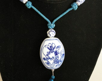 """Asian Blue and White Porcelain Beads on Cord Necklace - 26"""""""