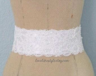 White Beaded Alencon Lace Sash Belt, Bridal Sash, Bridesmaid Sash, Wide Lace Sash , SH-42