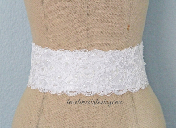 White Beaded Alencon Lace Sash Belt, Bridal Sash, Bridesmaid Sash, Wide Lace Sash , SH-42