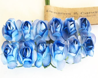 3 Royal Blue with White Paper Flower Branchs -36 Paper Flowers -Small Paper Flowers -Flower Branch -Mini paper flowers with wire string