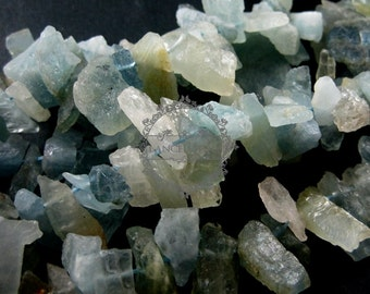 10pcs 15-25mm Aquamarine raw stone stick loose beads for DIY earrings pendant charm supplies 3000024
