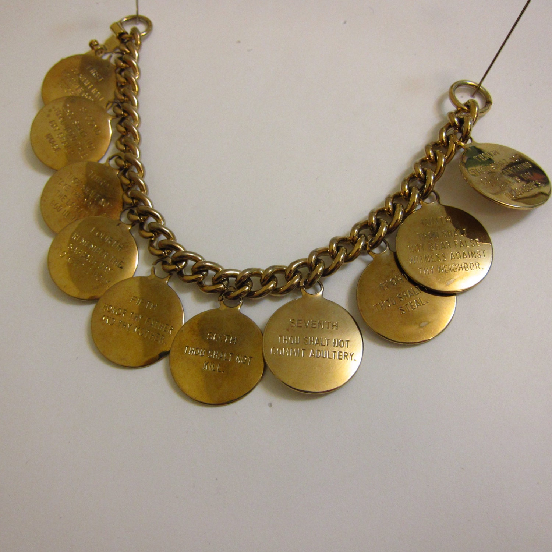 vintage 10 commandments charm bracelet by cjmcnaughton on etsy