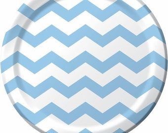 """Paper Plates 9 """"  Chevron Light  Blue Stripe Compostable Sustainable Eco Friendly Birthday Party Wedding Bridal Shower Baby Shower"""