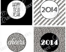 Silver New Year Printable Party Squares - DIY Cupcake Toppers - 2014 Glitter New Year's Eve Celebration
